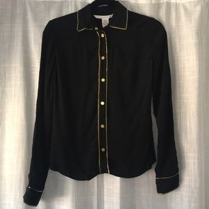 DVF Black Silk Blouse with Gold Buttons and Piping